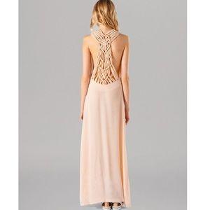 Maje Peach Macrame Maxi Dress. Size 3 NWT